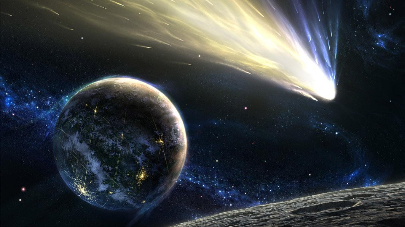 Обои огненный хвост, астероид, планеты. Космос foto 8